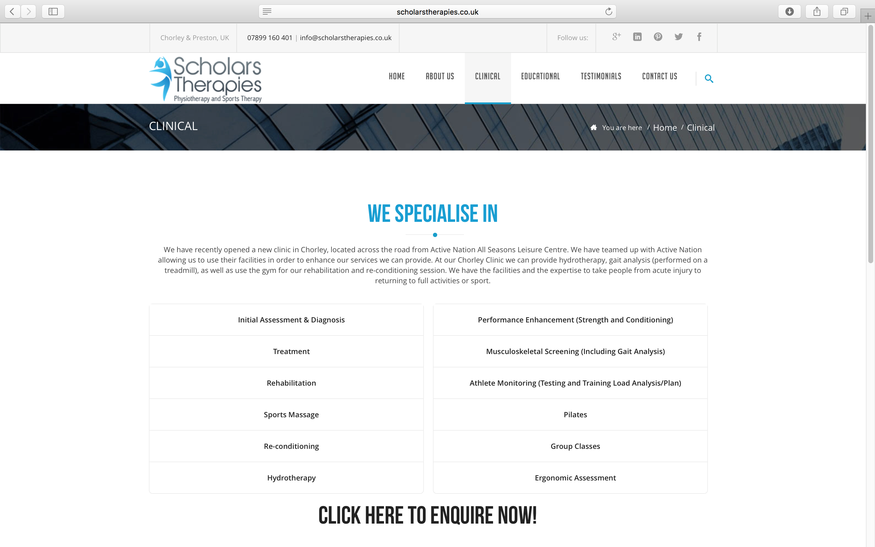 Scholars Therapies Sports Therapist Clinical